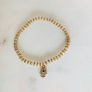 Jewelry - Clear Quartz crystal Hamsa stretch bracelet 😍